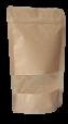 Standbodenbeutel und Doypacks aus braunem Kraftpapier mit Sichtfenster