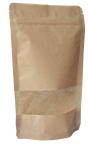 Standbodenbeutel aus Kraft-Papier braun mit Sichtfenster
